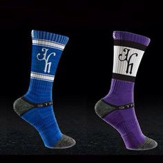 Blue and purple. Best socks in the game. www.jekyllhydeapparel.com