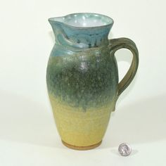 Medium Ceramic Pitcher, Hand Pulled Handle, Sculpted Tab Detail, Hand Thrown, High Fired Stoneware, Food Safe, Unique Vase, Great Gift- S033