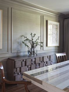 wood wall and grass cloth