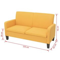 vidaXL 2 személyes sárga kanapé 135 x 65 x 76 cm[4/4]
