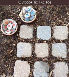 DIY garden tic tac toe