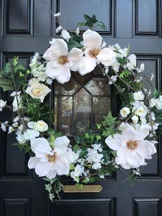 Cherry Blossom Magnolia Wreath,Wedding Wreath,Spring Wreath, White Cherry Flowers Wreath, White Magnolia Wreath, Magnolia and Ivy wreath This lush wreath design is handcrafted with a wonderful combination of creamy while Magnolia blossoms, white roses and white cherry blossom flowers