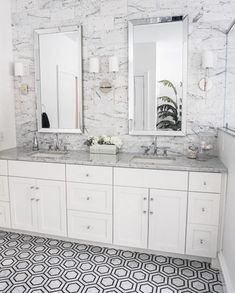 Bathroom decor for the modern design lover along with tons of inspiration for your next bathroom remodel. Black and brass lighting, wood vanities, and unique tile patterns all are found in this bathroom board. Marble Tile Bathroom, Bathroom Flooring, Bathroom Rugs, Bath Design, Tile Design, Best Bathroom Designs, Commercial Flooring, Shower Floor, Amazing Bathrooms