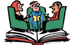 NPR book club recs. 2012  Illustration of a book club meeting.