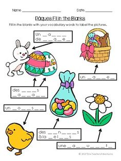 Pâques - Beginner French Easter vocab activities and quiz