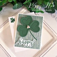 Handmade St. Patrick\'s Day Card with Heart Shamrock using Stampin\' Up! products created by Peggy Noe of Pretty Paper Cards #shamrockcard #stpatricksdaycard #peggynoe #prettypapercards