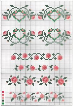 Rose borders cross stitch chart