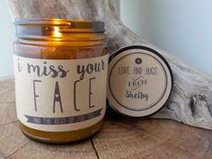 I Miss Your Face 9 oz. Hand Poured Soy Candle. Completely Handmade in Astoria, Oregon. Comes ready to gift in a lovely gift box. Perfect Holiday Gift or Anytime Gift! After ordering, please email us a