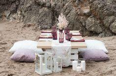 Inspiración para boda: flores junto al mar