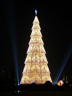 This is a giant Christmas Tree made out of lamps. Taken near Jeronimos Monastery, Lisbon. Christmas Tree with Lights Creative Christmas Trees, Beautiful Christmas Trees, Holiday Tree, Xmas Tree, Christmas Tree Decorations, Christmas Lights, Christmas Time, Europe Christmas, Gold Christmas