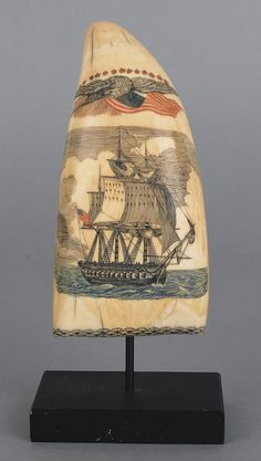 New England scrimshaw whale's tooth, early/mid 19th c.