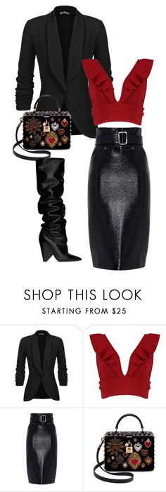 """""""vantines day"""" by getdressedwithme on Polyvore featuring moda, Boohoo, Dolce&Gabbana i Yves Saint Laurent"""