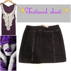 🇺🇸🆕✨Amazing💚Mini skirt ✨ ✨Great textured mini skirt! ✨Never worn,.....sold by Anthropologie, the brand is called Muse....✨Color black , with some leather like accents.....✨ Anthropologie Skirts Mini