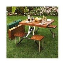 Folding Picnic Table Portable Camp Furniture Bench Umbrella Fishing Cool... - $156.43