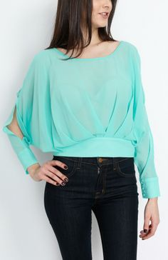 Mint Pleated Long Sleeve Top With Open Back - #WholesaleTops, #Casual #DayTops, #Boutique #WholesaleBoutique, #Nasty #Sexy, #Spring #SpringWear