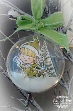 stampin Christmas x-mas Ornament acrylic ball elf snow Weihnachtskugel Acrylkugel deko weihnachten Elf Schnee goodie