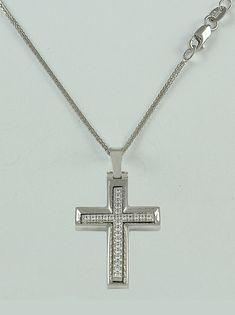 Σταυρός βάπτισης λευκόχρυσος με αλυσίδα, 14 καράτια, κορίτσι, Κωδικός WS212