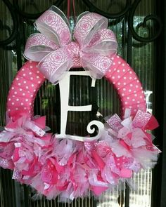 Baby Wreath Nursery Hospital Door Baby Shower by JoowaBean on Etsy Baby Door Wreaths, Hospital Door Wreaths, Baby Girl Wreaths, Tulle Wreath, Diy Wreath, Ribbon Wreaths, Wreath Ideas, Hospital Door Baby, Baby Kranz