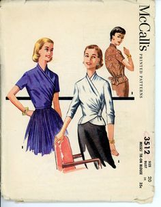 McCalls 3512 Misses 1950s Surplice Wrap Blouse by CynicalGirl, $28.00