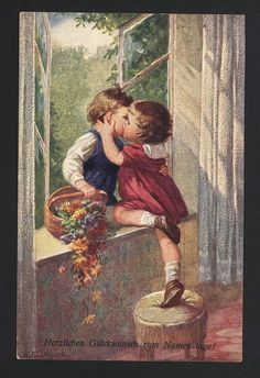 Impulsive Girl Kisses Boy at Window Bringing Flowers Romance Fialkowska Postcard | eBay