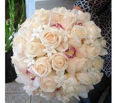 Wed-099 wedding bouquet, white roses, orchids and stephanotis