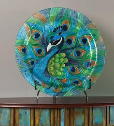 Hand-Painted Peacock Platter...it doesn't really look like clay but if it were....
