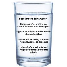 Best times to drink water.
