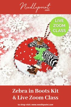 Join expert teacher Jinny McAuliffe on April at EST for a live Zoom class featuring this adorable Zebra in Boots Ornament! Hand Painted Canvas, Needlepoint Kits, Hanging Signs, Wood Boxes, Picture Frames, Christmas Bulbs, Join, Crochet Hats, Teacher