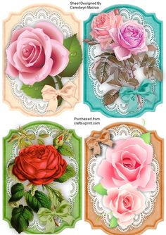 4 Lovely Roses Toppers on Lace on Craftsuprint designed by Ceredwyn Macrae - A lovely set of 4 roses toppers to make and give in pink, and red, Ideal for your stash or to make as notelets - Now available for download!