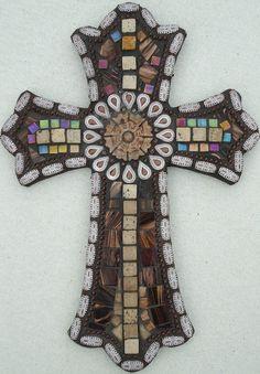 Cornerstone  Mosaic Cross by BrokenBeautyMosaics on Etsy, $165.00