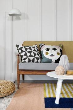Scandi Living Room | Living Room Inspiration | Black and White Cushions | Yellow | Grey | Blue | Pattern | Vase | Design | Scandi Inspired | Living Room |