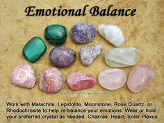 Malachite, Lepidolite, Moonstone, Rose Quartz, Rhodochrosite. Related chakras: Heart, Solar Plexus.