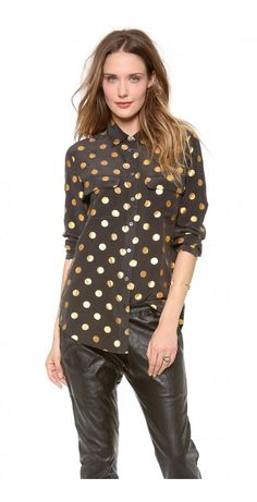 SLIM SIGNATURE BLOUSE - $74.69  Bright polka dots pattern this collared Equipment top. Pearlized buttons secure the placket. Breast pockets and rounded hem. Long sleeves and buttoned cuffs.