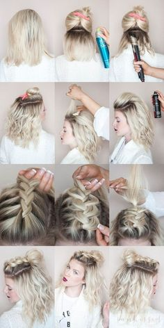 half-down hairstyles for girls with short hair at prom niffler-elm.tumb half-up half-down hairstyles for girls with short hair at prom niffler-elm.tumbhalf-up half-down hairstyles for girls with short hair at prom niffler-elm. Blonde Braids, Braids For Short Hair, Girl Short Hair, Hairstyle Short, Short Hair Dos, Medium Hair Braids, Messy Braids, Hair Girls, Short Blonde