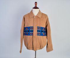 1990s Pendleton Jacket / Vintage Men's Jacket / Navajo Blanket / Southwest Style / Wool & Denim / Hippie Festival / Size Extra Large XL by ShopReverieVintage, $95.00