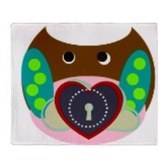 Key ot my heart owl Throw Blanket - See all of our kid inspired products in our shop at www.cafepress.com/drapestudio