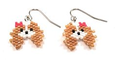 Brick Stitch Earrings, Seed Bead Earrings, Diy Earrings, Seed Beads, Beaded Earrings Patterns, Seed Bead Patterns, Beading Patterns, Seed Bead Projects, Spaniel Dog