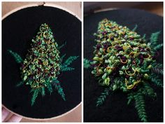 r/trees - This embroidered nug. Thought you might appreciate the quality. Embroidery Needles, Diy Embroidery, Cross Stitch Embroidery, Embroidery Patterns, Cross Stitch Patterns, Advanced Embroidery, Blackwork Patterns, Beaded Cross Stitch, Crafts To Do