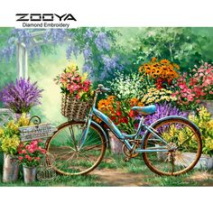 Landscape Paint by Number Kit, DIY Painting Bicycle in Flowers Garden painting picture on canvas paint coloring by number DIY Gift