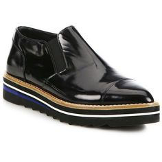 Vince Alona Patent Leather Point-Toe Creeper Loafers ($310) ❤ liked on Polyvore featuring shoes, loafers, apparel & accessories, black, patent leather shoes, loafer shoes, slip-on loafers, vince shoes and black cap