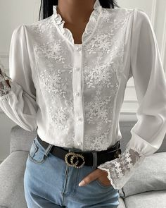 Crochet Lace Bell Sleeve Frill Hem Top Chic Type, Womens Fashion Online, Lace Tops, White Long Sleeve, Shirt Blouses, Blouse Designs, Blouses For Women, Tunic Tops, Elegant