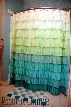 Ruffled shower curtain -- LOVE the colors!!