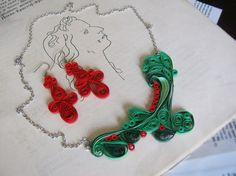Aretes y collar rojo y verde vacaciones joyería por SbirOtak