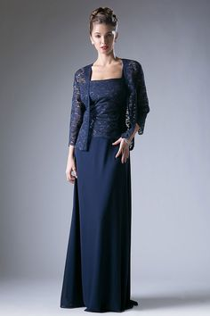 Floor Length A-line Mother of the Bride Evening Dress has Sleeveless Lace Top with Sequin Accent, Square Neckline and Low Back featuring Zipper Closure, Dress also has Solid Color Long Skirt and Matching Lace Bolero with Long Sleeve.