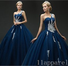 Navy Blue One shoulder Beading Sequin Quinceanera Dresses Ball Gown Prom Gowns #Handmade #BallGown #Formal