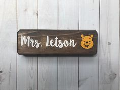 Winnie the Pooh - Pooh Bear Teacher name sign - desk sign - teacher gift - hand painted wood sign - teacher name plaque - classroom decor Teacher Name Plates, Teacher Name Signs, Teacher Door Hangers, Classroom Signs, Paint Shades, Name Plaques, Painted Wood Signs, Teacher Appreciation Gifts, Sign I