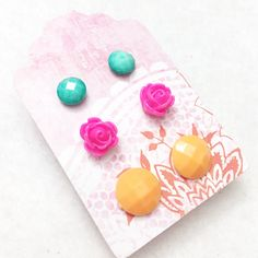 Petite pink roses and bright acrylic button studs earrings that are hypoallergenic for sensitive ears by Jules Jewelry Box by JulesJewelryBox on Etsy https://www.etsy.com/listing/512145554/petite-pink-roses-and-bright-acrylic