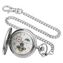Charles-Hubert, Paris Stainless Steel Automatic Pocket Watch