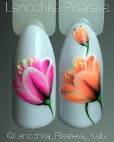 Flowers with gel accent Uñas One Stroke, One Stroke Nails, Tulip Nails, Flower Nails, Uv Nails, Acrylic Nails, Nail Polish Designs, Nail Art Designs, Spring Nails