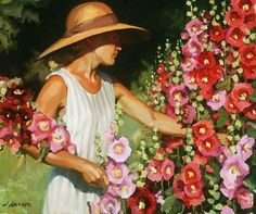 Jeffrey T. Larson (American, 1962- ) | Hollyhock Garden